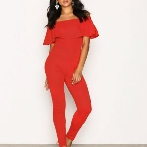 Nly One Crepe Frill Jumpsuit Punainen