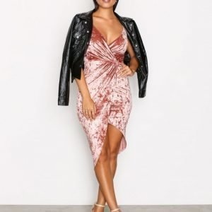 Nly One Crushed Velvet Wrap Dress Kotelomekko Peach