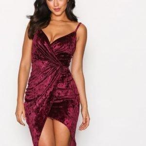 Nly One Crushed Velvet Wrap Dress Kotelomekko Viininpunainen