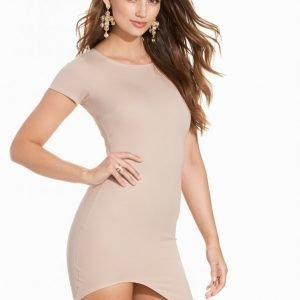 Nly One Curved Hem Mini Dress Juhlamekko Beige