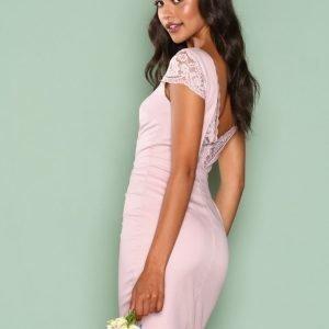 Nly One Deep Back Lace Dress Kotelomekko Vaalea Pinkki
