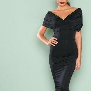 Nly One Drapy Shoulder Dress Kotelomekko Musta