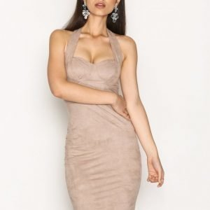 Nly One Faux Suede Bodycon Kotelomekko Beige