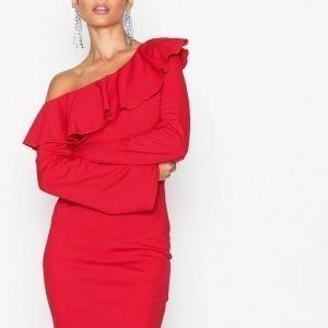 Nly One Frill Flirty Dress Kotelomekko Punainen