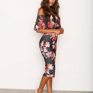 Nly One Frill Print Dress Kotelomekko Musta