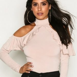 Nly One Frill Shoulder Top Body Beige