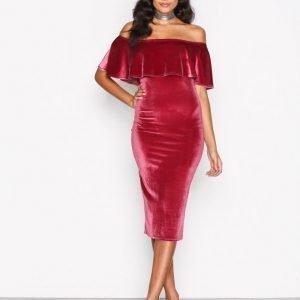 Nly One Frill Velvet Dress Kotelomekko Vaaleanpunainen