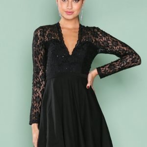 Nly One Glam Lace Skater Dress Skater Mekko Musta