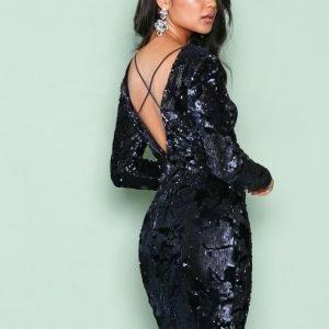 Nly One Glam Sequin Dress Paljettimekko Tummansininen