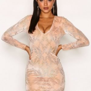 Nly One Glitter Leaf Bodycon Kotelomekko Metallic