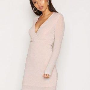 Nly One Glittery Wrap Dress Kotelomekko Champagne