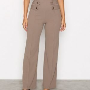 Nly One Gold Button Pant Housut Taupe