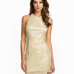 Nly One Halterneck Slit Dress Maksimekko Kulta