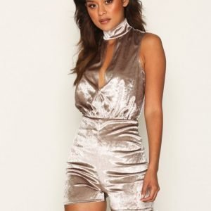 Nly One Keyhole Velour Playsuit Taupe