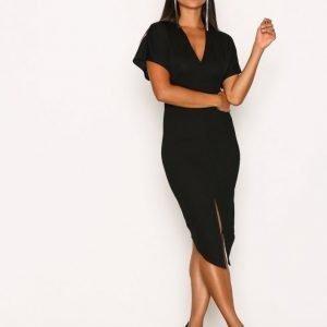 Nly One Kimono Front Split Dress Kotelomekko Musta