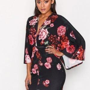 Nly One Kimono Print Dress Kotelomekko Musta