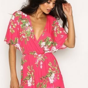Nly One Kimono Printed Playsuit Kirsikanpunainen