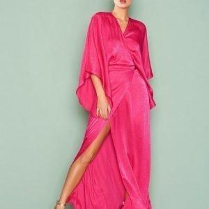Nly One Kimono Wrap Maxi Dress Maksimekko Kirsikanpunainen