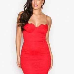 Nly One Lace Bodycon Dress Juhlamekko Punainen