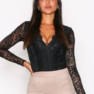 Nly One Lace Plunge Body Musta