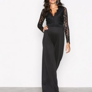 Nly One Lace Plunge Jumpsuit Musta