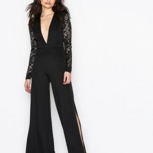 Nly One Lace Sleeve Jumpsuit Musta