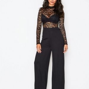 Nly One Lace Top Jumpsuit Musta