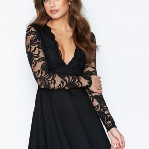 Nly One Lace Top Skater Dress Skater Mekko Musta