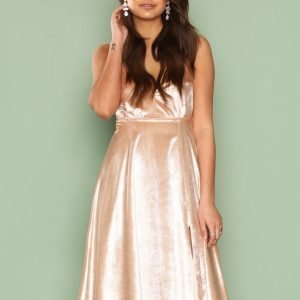Nly One Light Velvet Midi Dress Skater Mekko Champagne