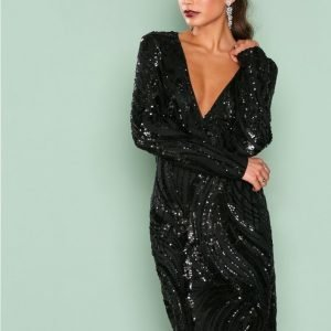 Nly One Luxe Glitter Dress Paljettimekko Musta