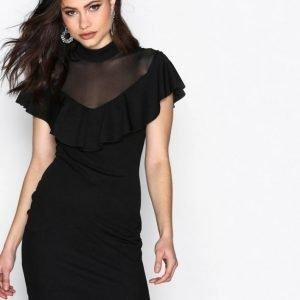Nly One Mesh Contrast Frill Dress Kotelomekko Musta