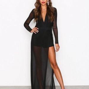 Nly One Mesh High Slit Dress Maksimekko Musta