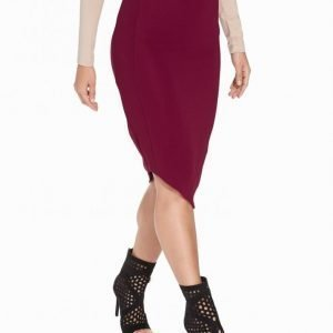 Nly One Midi Rib Skirt Midihame Burgundy