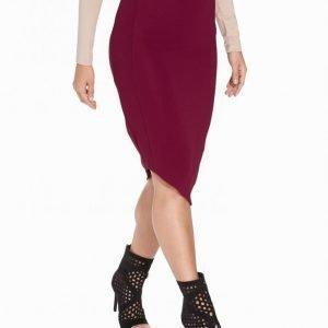 Nly One Midi Rib Skirt Midihame Burgundy