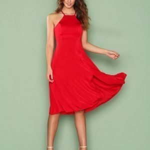 Nly One Midi Slit Dress Skater Mekko Punainen