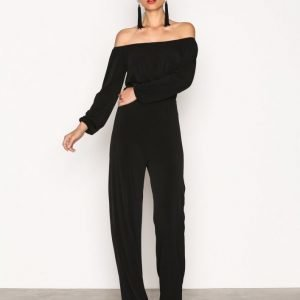 Nly One Off Shoulder Jumpsuit Musta