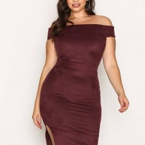 Nly One Off Shoulder Suede Dress Kotelomekko Burgundy