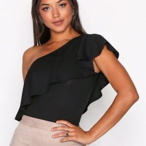 Nly One One Shoulder Frill Body Musta