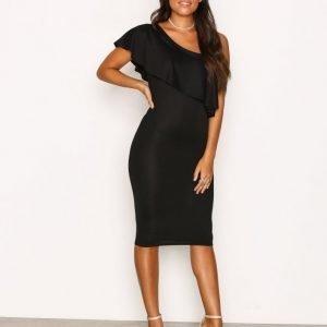 Nly One One Shoulder Frill Dress Kotelomekko Musta