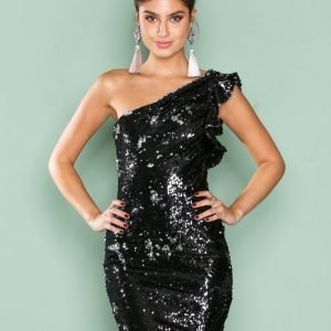 Nly One One Shoulder Sequin Dress Paljettimekko Kuviollinen