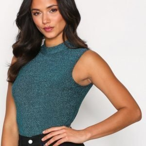 Nly One Open Back Glitter Body Teal