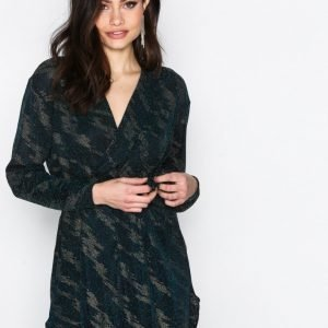 Nly One Oversize Wrap Tie Dress Loose Fit Mekko Sininen / Kulta