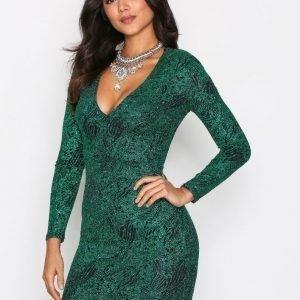 Nly One Plunge Glitter Lurex Dress Kotelomekko Vihreä