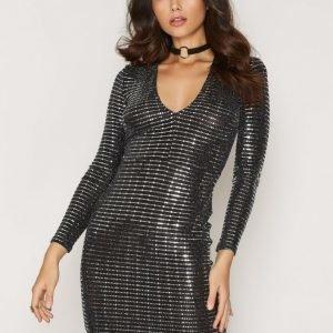 Nly One Plunge Metallic Dress Kotelomekko Hopea / Musta