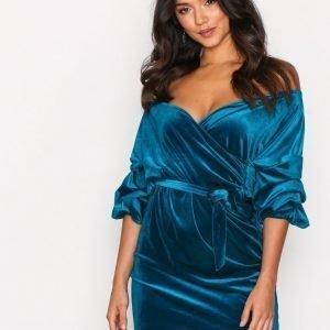 Nly One Puff Sleeve Velvet Dress Loose Fit Mekko Teal