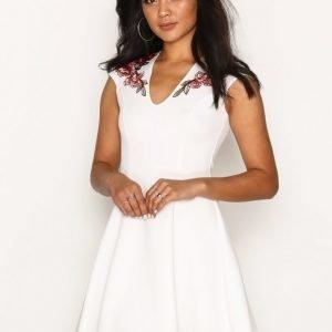 Nly One Rose Applique Dress Skater Mekko Valkoinen