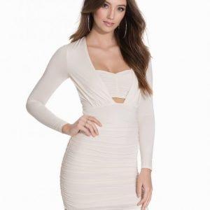 Nly One Ruched Long Sleeve Dress Kotelomekko Valkoinen