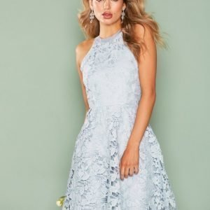 Nly One Scallop Lace Dress Skater Mekko Vaaleansininen
