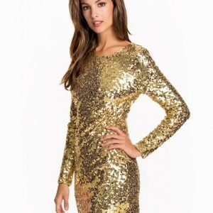 Nly One Scoop Back Sequin Dress Paljettimekko Kulta