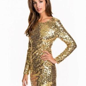 Nly One Scoop Back Sequin Dress Paljettimekko Kulta